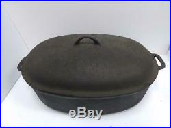 Vintage Griswold Oval Roaster No. 9 Cast Iron Heavy with Original Rack