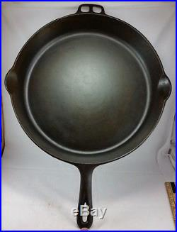 Vintage Huge WAGNER WARE Sidney O #14 A Cast Iron Skillet Rare CLEAN SEASONED