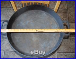 Vintage LARGE 20 Lodge Cast Iron Double Handled Hotel Pan Skillet