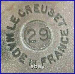 Vintage LE CREUSET 29 Enamel Cast Iron White Dutch Oven Roaster Grill Pan Lid