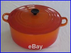 Vintage Le Creuset # 28 Dutch Oven 7.25 QT. Cast Iron Enamel Flame Orange