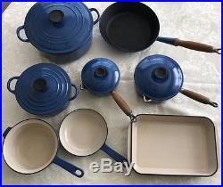 Vintage Le Creuset Blue Cast Iron Dutch, Saute, Sauce, Roaster & Lids 12 Pieces
