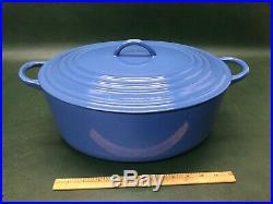 Vintage Le Creuset Cast Iron Enamel Oval Dutch Oven Roaster Blue 12 Qrt