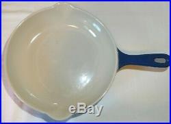 Vintage Le Creuset Cast Iron Skillet 9 DEEP BLUE NEAR MINT #23 Fry Pan