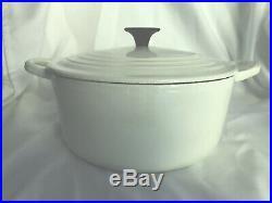 Vintage Le Creuset Enameled Cast Iron Glossy White Dutch Oven 3 1/2 Qt #22