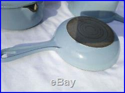 Vintage Le Creuset Enameled cast iron cookware set skillet sauce pots Light Blue