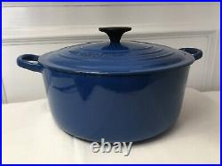 Vintage Le Creuset France Marseille Blue E Cast Iron Round Dutch Oven with Lid