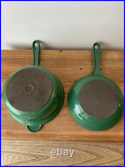 Vintage Le Creuset Green Cast Iron Sauce Pan Skillet LID Combo # 18 & #14