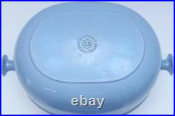 Vintage Le Creuset La Mama Blue #33 Oval Dutch Pot Oven Enzo Mari EXC Condition