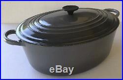 Vintage Le Creuset Oval Dutch Oven 9.5 Qt 35 H Oyster Grey Cast Iron 11 X 17