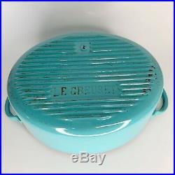 Vintage Le Creuset Paris Blue Turquoise Enamel Cast Iron Dutch Oven Square Knob