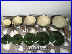 Vintage Le Creuset Saucepans Set Of 5 Green Iron Cast 14,16,18, 20,22 With Lids