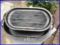 Vintage Lodge 3060 Sportsman's Duck Cast Iron Roaster Fish Fry Pan WithGriddle Lid