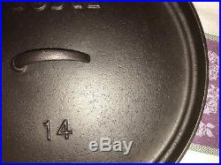 Vintage Lodge Discontinued Model #14 Shallow Camp Dutch Oven, Cleaned & Seasoned