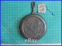 Vintage Lodge Skillet With Buck Deer Cast Iron