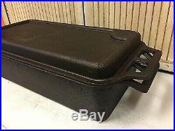 Vintage RARE Cast Iron Large Covered Deep Fish Chicken Fryer & Griddle GEM