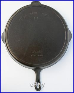 Vintage Rare #14 Griswold-Wagner Double Pour Spout Cast Iron Heat Ring Skillet