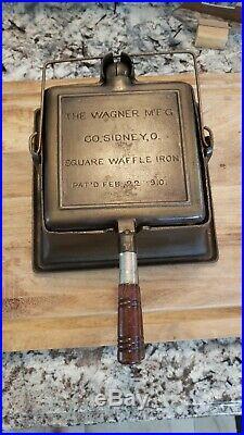 Vintage Wagner Cast Iron Square Waffle Iron 1910