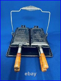 Vintage Wagner Sidney O Cast Iron Hotel Double Waffle Maker. Excellent Condition