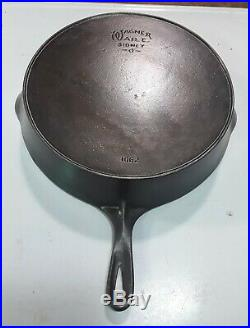 Vintage Wagner Ware No. 12 Cast Iron Skillet 13 1/2 1602 FULLY RESTORED FLAT