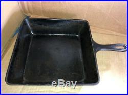 Vintage Wagner Ware Sidney -0- #1400 Square Cast Iron Chicken Fryer Skillet