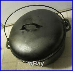 Vntage 2 GAL # 10 PURITAN 12 DUTCH OVEN Cast IRON COWBOY w Trivet, lid, large pot