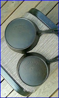 Vollrath Ware Marked Set #4 #9 Very Nice Vintage Cast Iron Skillet Set