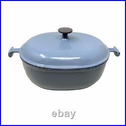 Vtg 70's Rare Le Creuset x Enzo Mari Cast Iron Dutch Oven La Mama # 29 Blue