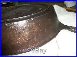 Vtg. Civil War Era #9 Fancy Handled Cast Iron Skillet/Gate Mark/Griswold Type #9