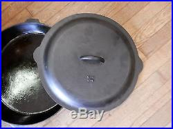 Vtg GRISWOLD #14 ERIE PA 718 BIG DADDY CAST IRON SKILLET With HEAT RING & LID