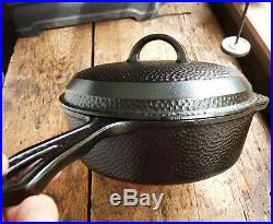 Vtg GRISWOLD Cast Iron HAMMERED Deep SKILLET Frying Pan & LID # 8 Ironspoon