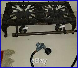 Vtg Griswold 2 burner Gas STOVE 712 Table top Cast Iron HTF Camping unit