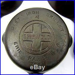 Vtg Griswold 3 4 5 6 7 8 Cast Iron Skillet Set Big Block Logo Erie USA EPU Clean