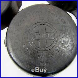 Vtg Griswold 3 4 5 6 7 8 Cast Iron Skillets Big Block Logo Erie USA EPU Set of 6