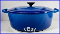 Vtg Le Creuset #29 Cast Iron Enamel 5 Qt Oval Dutch Oven Marseille Blue