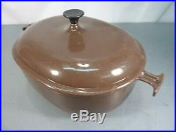 Vtg Le Creuset 33 Enzo Mari La Mama Brown 8 Quart Cast Iron Oval Dutch Oven