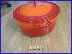 Vtg. Le Creuset #34 Dutch Oven 13 1/4 Qut Orange Flame Cast Iron Enamel