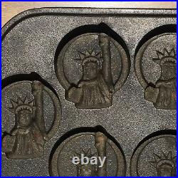 Vtg Rowoco Cast Iron Biscuit/muffin Baking Mold Pan Statue Of Liberty Primitive
