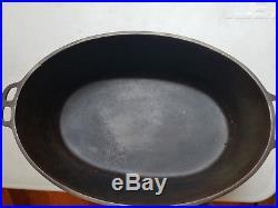 Vtg Wagner Ware Sidney O 1285 Cast Iron Oval Roaster # No 5 Lid HTF Rare Antique