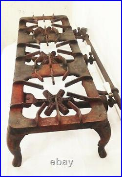 Vtg antique cast iron Griswold patt 187 3 burner gas camping stove grill