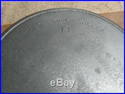 Wagner/Griswold #14 Cast Iron Skillet Cookware Clean Ready To Use or Season