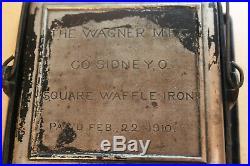 Wagner Mfg Co. Sidney Ohio Cast Iron Square Waffle Maker Iron Pat. Feb 22 1910