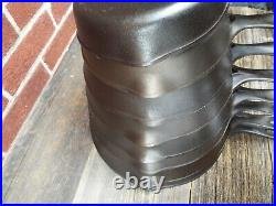 Wagner Stylized Logo Smooth Bottom 3 Thru 10 Cast Iron Skillet set, restored