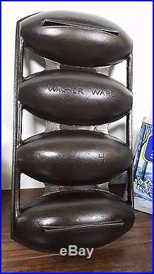 Wagner Ware Marked H Cast Iron Vienna Roll Corn Pone Bread Pan Vtg USA Cleaned