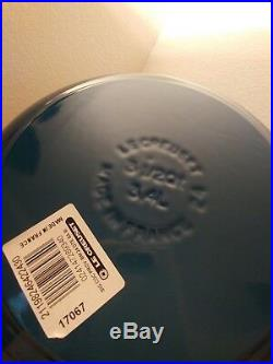 Williams Sonoma Blue Le Creuset Cast Iron Round Dutch Oven 3.5-Qt Deep Teal